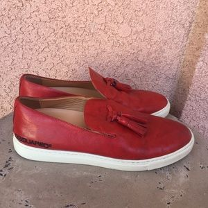 Dsquared2 Red Leather Loafers Tassel Kiltie 8.5